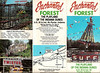 The Enchanted Forest brochure.  I think this was produced in the 1980s.  On the far right panel, is the ultra-rare Surf ride.  This was the first thing you saw as you approached the park.  It was either a Watkins or a Goforth ride - it was essentially an oversized Wipeout with a giant cone in the middle.  The surfer on top would squirt water on the riders below.